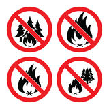 Collection of no forest fire icons. vector. Collection of no forest fire icons. alarm signs with trees and bonfire isolated on white background. vector Royalty Free Stock Photography