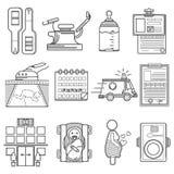 Collection noire d'icônes pour la gynécologie Images libres de droits