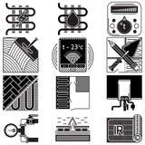 Collection noire d'icônes pour le chauffage par le sol Photos stock
