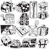 Collection noire de cadeaux Images libres de droits