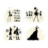 Collection noire de silhouettes de filles de mode illustration stock