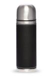 Collection noire de thermos d'isolement sur le fond blanc Images stock