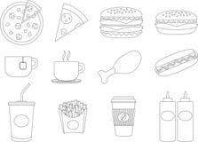 Collection noire et blanche de logo de nourriture industrielle d'isolement sur l'affiche blanche de fond Image libre de droits