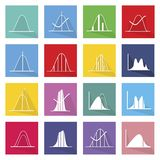 Collection of 16 Normal Distribution Curve Icons. Flat Icons, Illustration Set of 16 Gaussian, Bell or Normal Distribution Curve Icon Labels vector illustration