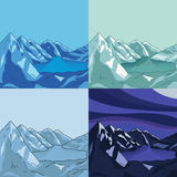 Collection of north landscapes. Glacial lake. Set of mountain landscapes. Glacial lake. Collection of north landscapes. Cartoon  modern illustration Stock Image