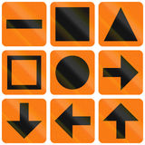 Collection of Norwegian detour symbols and arrows Royalty Free Stock Photos