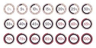 Collection numérique réglée de diagrammes d'infographics d'isolement Photo stock