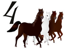 Collection number for kids- animals farm - the number four, horse. Royalty Free Stock Image