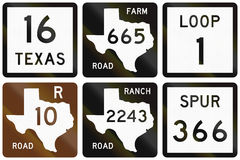 Collection of numbered road signs used in Texas, USA Royalty Free Stock Photos
