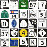 Collection of numbered road signs used in the USA Stock Images