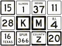 Collection of numbered secondary road signs used in the USA Stock Photography