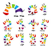 Collection of Numbers. Made Of colorful animal. Cartoon rainbow zebra. Vector illustration Stock Images