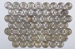 Collection numismatique de quarts commémoratifs des Etats-Unis et des territoires Image libre de droits