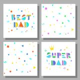 Collection of objects for father`s day. Collection of postcards and backgrounds for the father`s day. Best Dad, Super Dad. Cute prints correspond to postcard Stock Photos