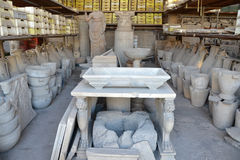 Collection of objects found during excavations in ancient Pompeii Royalty Free Stock Photography