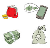 Collection of objects - the money Royalty Free Stock Images