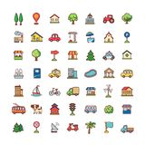 City icons set. Collection of objects and symbols for city lifestyle. Set of cartoon icons isolated on white background Stock Images