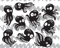 Collection of octopuses in cartoon style. Vector set with cartoon octopus in monochrome colors. Ink hand drawn illustration royalty free illustration