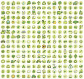 Collection Of 256 Ecology Doodled Icons Stock Image