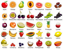 Collection Of 35 Fruits Icons Stock Images