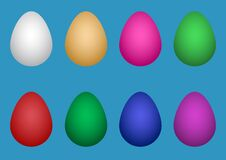Free Collection Of 3d Easter Chicken Eggs Of Different Colors On A Blue Background. Royalty Free Stock Photo - 214034855