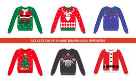 Free Collection Of 6 Traditional Christmas Party Colorful Ugly Vector Sweater With Reindeer, Dog, Deer, Santa Costume, Xmas Tree And To Royalty Free Stock Images - 141538469