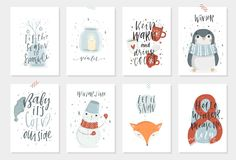 Free Collection Of 8 Cute Winter Gift Cards Stock Photos - 103719943