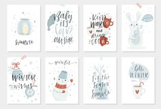 Free Collection Of 8 Cute Winter Gift Cards Stock Images - 103720004
