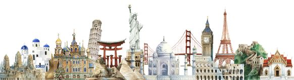 Free Collection Of Architectural Landmarks Painted By Watercolor Stock Image - 130659711