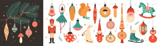 Free Collection Of Beautiful Baubles And Decorations For Christmas Tree. Set Of Holiday Ornaments. Figures Of Animals, Santa Royalty Free Stock Image - 132630376