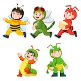 Collection Of Children Wearing Cute Insect Animal Costumes Royalty Free Stock Image