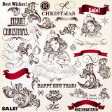 Collection Of Christmas Vector Vintage Decorative Calligraphic E Stock Photography