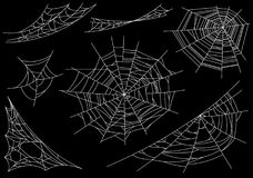 Free Collection Of Cobweb, Isolated On Black, Transparent Background. Spiderweb For Halloween Design. Spider Web Elements Stock Photography - 119330822