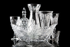 Collection Of Crystal Dishes Stock Photography