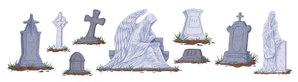 Free Collection Of Different Cartoon Tombstones Vector Graphic Illustration. Set Of Gray Gravestones And Sculptures Isolated Stock Photo - 170075020