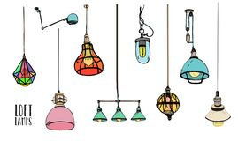 Free Collection Of Different Colored Loft Lamps Or Light Fixtures On White Background. Hand Drawn Old-fashioned Stock Photos - 100710353