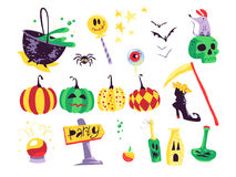 Free Collection Of Flat Vector Halloween Traditional Decoration Elements Isolated On White Background. Stock Photography - 98852082