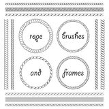 Collection Of Frames And Brushes Of The Braided Rope Stock Photography