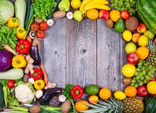 Collection Of Fresh Fruit And Vegetables On Wooden Table In Form Of Frame - High Quality Studio Shot Stock Images