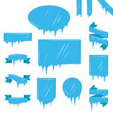 Collection Of Frozen Icicle Snow Winter Vector Banner. Royalty Free Stock Photos