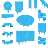 Collection Of Frozen Icicle Snow Winter Vector Banner. Royalty Free Stock Photo