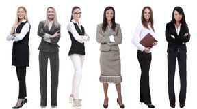 Collection Of Full-length Portraits Of Young Business Women Stock Photo