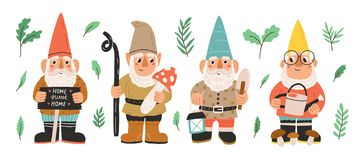 Free Collection Of Garden Gnomes Or Dwarfs Holding Lantern, Banner, Mushroom, Watering Can. Set Of Cute Fairytale Characters Stock Images - 151493774