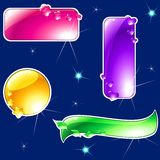 Collection Of Glossy, Brightly Colored Banners Royalty Free Stock Photography