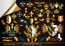 Collection Of Gold-framed Heraldic Elements Royalty Free Stock Images