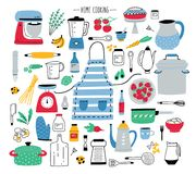 Collection Of Hand Drawn Kitchen Utensils, Manual And Electric Tools For Home Cooking, Cookware, Food Ingredients Stock Image