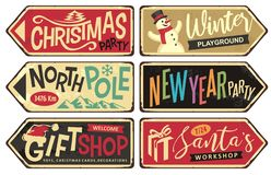Free Collection Of Holiday Christmas Sign Posts Royalty Free Stock Photo - 160622965