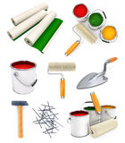 Collection Of Isolated Tools For House Repairing Stock Images