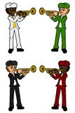 Collection Of Kids - Trumpetists Royalty Free Stock Image