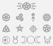 Free Collection Of Magical Wiccan And Pagan Symbols: Pentagram, Triple Moon, Horned God, Triskelion, Solar Cross, Spiral Royalty Free Stock Images - 173101319